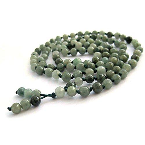 OVALBUY Hand Knotted 108 Jadeite Jade Beads Buddhist Prayer Japa Mala for Meditation