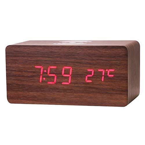 HAIK Creativa del teléfono móvil inalámbrico del Cargador LED de Madera Reloj Despertador electrónico Curva Ancha LED Escritorio/estantería Digital (Color : Red)