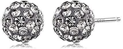 YURG Pendientes en piedra F Las mujeres brillantes bola de cristal en plata de ley Fantasy (Col: azul cielo) (color: gris)