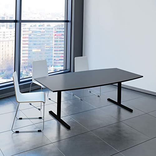WeberBÜRO Easy Konferenztisch Bootsform 200x100 cm Anthrazit Besprechungstisch Tisch, Gestellfarbe:Schwarz