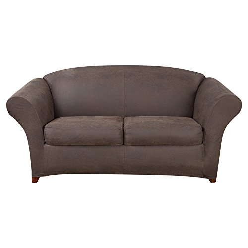 SureFit Ultimate Stretch Leather - Loveseat Slipcover - Weathered Saddle (SF44048)