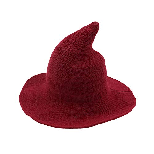 Women's Witch Kinitted-Wool Hats, for Halloween Party Masquerade Cosplay Costume Accessory and Daily Red