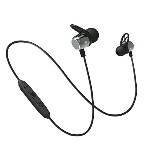 pTron BassFest Evo Intunes Magnetic in-Ear Wireless Bluetooth Headphones with Mic - (Grey and Black)
