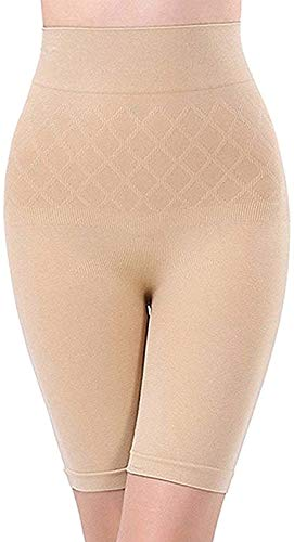 Gopalvilla Women's Cotton Lycra Tummy Control 4-in-1 Blended High Waist Tummy & Thigh Shapewear (Skin)
