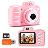 Kids Digital Camera, 12MP Kids Camera for Girls with 2.4 Inch Large Screen 1080P Pink Kids Video Camera Best Birthday Gift for Kids Include 32G Memory Card…