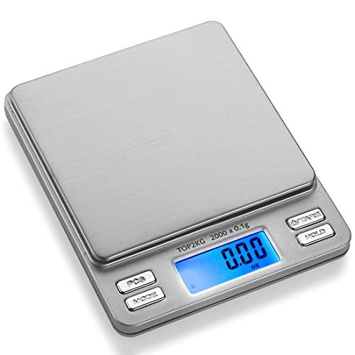 Smart Weigh Balance de Précision Numérique, 2kg / 0.1g, Balance de Cuisine de Précision, Fonction de Tare et de Compte, Echelle de Bijoux, Affichage Rétroéclairé LCD, (Acier Inoxydable)
