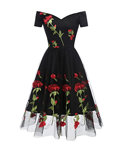 Aofur Women's Vintage Style Rose Embroidered 1950s Rockabilly Evening Party Lace Swing Tea Dress A Line Dresses (XXX-Large, Black_Red_Rose)