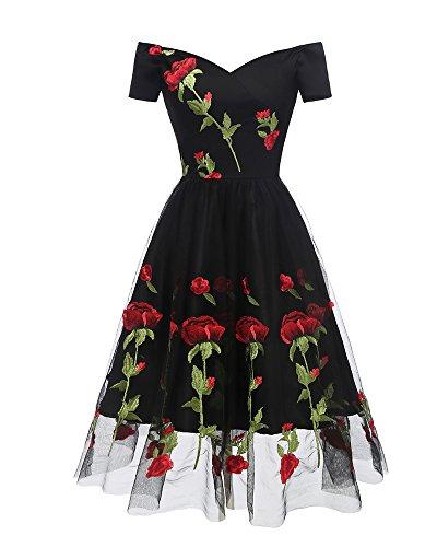 Aox Frauen 1950er Jahre Boot Hals Bestickt Rose Bandeau Swing Gatsby Prinzessin Ball Kleid Plus Größe (46, Schwarz)