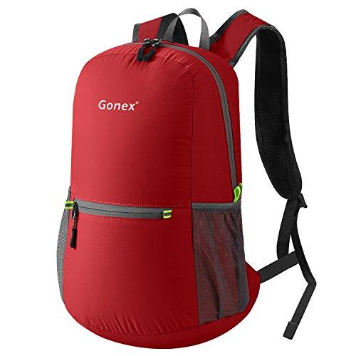 Gonex 20L Leichter Tagesrucksack, Unisex Faltbarer Rucksack für Outdoor Wandern Reisen (Rot)