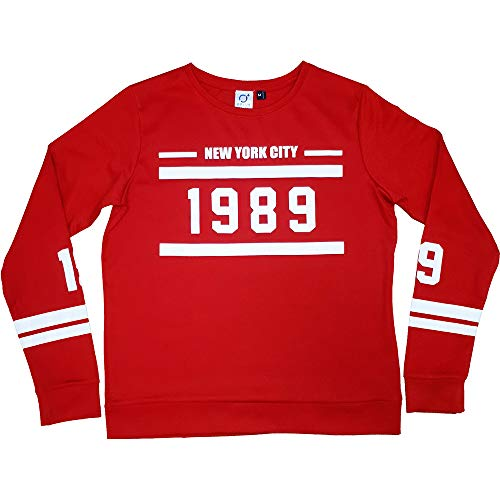 _Camiseta T-Shirt 1989 - Vintage- Manga Larga para Mujer - Rojo - Talla XS