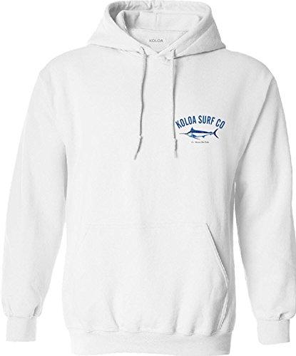 Koloa Surf Hawaiian Blue Marlin Logo Hoodie, Hooded Sweatshirt-L-White