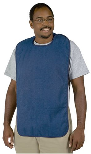 Duro-Med DMI Terry Cloth Adult Bib Mealtime Clothing Protector, Blue