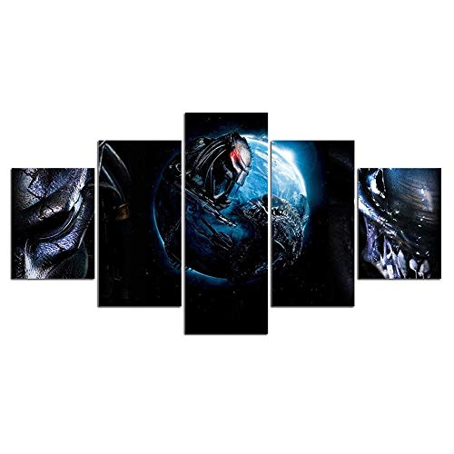 baixiangguo Película Alien Vs.Predator Cuadros Decoracion Salon 5 Piezas Modernos Mural Fotos para Salon, Dormitorio, Baño, Comedor (con Marco) -150 x 80 cm