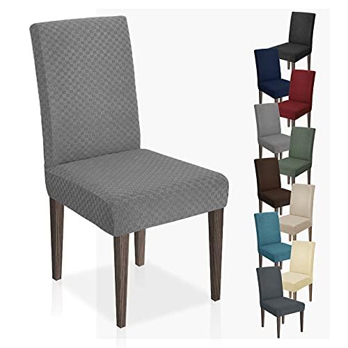 MAXIJIN Neueste Jacquard Esszimmer Stuhlbezug Stretch Dining Parsons Stuhl Schonbezug Abnehmbare Stuhl Möbel Schutzhüllen für Esszimmer, Hotel, Küche, Zeremonie (Hellgrau, 4)