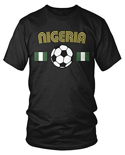 Amdesco Men's Nigeria Soccer, Nigerian Football T-Shirt, Black Medium
