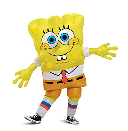 Disguise Spongebob Costume, Inflatable Spongebob Costumes for Kids, Child Size Fan Operated Expandable Blow Up Suit, Yelow, Childrens Size (112289CH)