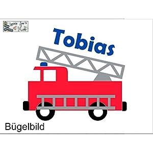 Bügelbild Aufbügler mit Name Feuerwehr Firetruck Name in Flex, Glitzer, Flock, Effekt in Wunschgröße