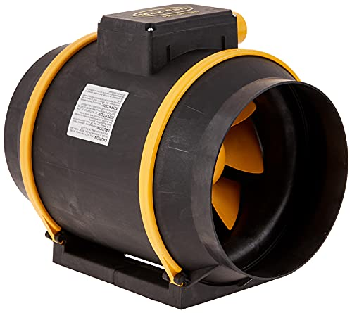 Can Filter Group HGC736748 Can Max Pro Series Inline Mixed Flow Fan with 3-Speeds & EZ Mount Bracket-ETL Listed, 8' - 863 CFM, 120 Volt, Black