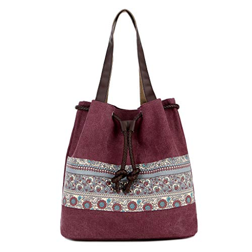 Andouy Damenmode National Large Capacity Canvas Handtasche Einzel Umhängetaschen(Wein)
