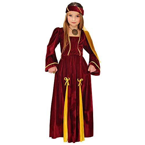 Widmann 12538 - Kinderkostüm Mittelalterliche Prinzessin, Kleid, Kopfbedeckung mit Schleier, Adlige, Königin, Fasching, Karneval, Mottoparty