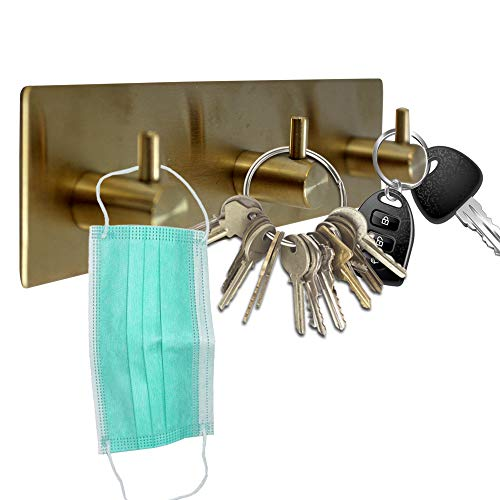 Key Holder for Wall ~ Key Hook for Wall with 3 Key Hooks ~ Coat Hanger, Purse Hanger, Towel Hook ~ Easy Mount Key Hangers for Wall, Entryway, Bathroom, Living Room, Kitchen (Gold Finish)