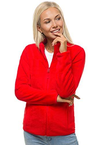 OZONEE Damen Fleecejacke Jacke Fleecejacken Kapuzenpullover Sweatjacke Sweatshirt Langarm Sport Hoodie Strickfleece Strickfleecejacke Fleece Jacken JS/HH001/5Z ROT M