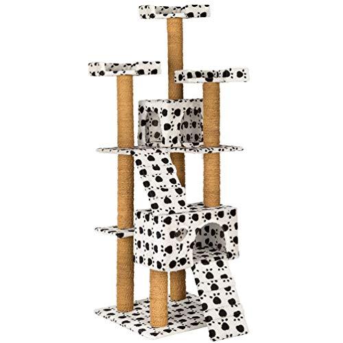 HB Club Katzen Kratzbaum 170cm Stabiler Katzenbaum mittelhoch mit 2 Höhlen Aussichtsplattformen Kokosseil Kletterbaum für Katzen, Pfotenabdruck