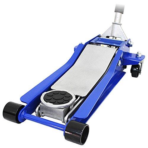 【ブルー】ガレージジャッキ 低床 3トン フロアジャッキ 3t 油圧ジャッキ デュアルポンプ式 ローダウン車対応
