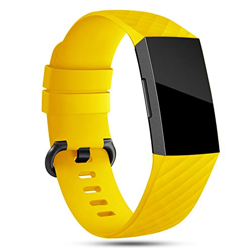 Onedream Correa Compatible para Fitbit Charge 3 Strap/Charge 4 Correa Mujer Hombre Pulsera Recambio Sport Band Amarillo (sin Reloj),L
