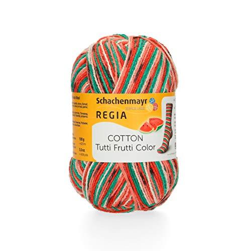 REGIA 4-fädig Cotton Tutti Frutti 9801621-02421 wassermelone Handstrickgarn, Sockengarn, 100g Knäuel