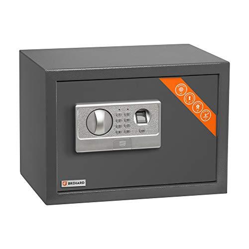 Brihard Caja fuerte biométrica - 2en1 Caja fuerte con bloqueo de teclado y huella dactilar - 25x35x25cm - Caja fuerte electrónica cerradura anti golpes, LED