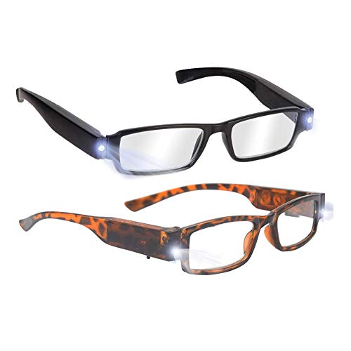 Bright LED Readers with Lights Reading Glasses Lighted Magnifier Nighttime Reader Compact Full Frame Eyewear Clear Vision Unisex Clear Vision Lighted Eye Glasses(2 PCS)