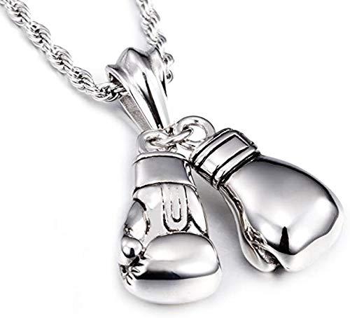 QIYUEQI Halskette Herren Kette Edelstahl Halskette mit Anhänger Boxhandschuh 22 Zoll Silber Kette für Männer