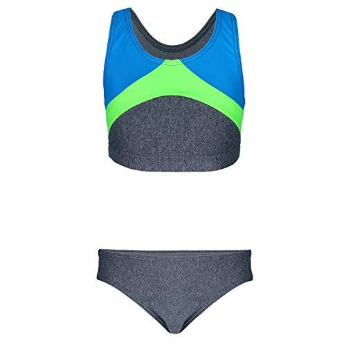 Aquarti Mädchen Sport Bikini Racerback Bustier & Bikinislip, Farbe: Melange/Türkis/Grün, Größe: 152