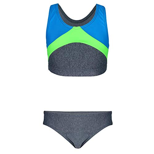 Aquarti Mädchen Sport Bikini Racerback Bustier & Bikinislip, Farbe: Melange/Türkis/Grün, Größe: 146