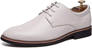 HongJie Hou Men's Business Casual Oxford Shoes Formal Wedding Party Breathable Flat Loafers Lace Up Round Toe (Color : White, Size : 8.5 UK)