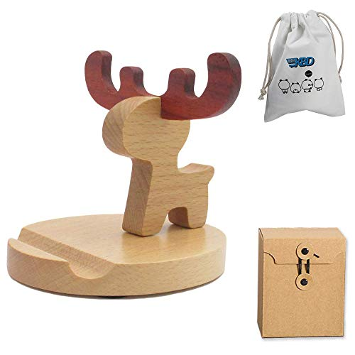 Cute Cell Phone Stand with Canvas Bag, MHKBD Wooden Phone Stand Animal Cell Phone Holder Desktop for iPhone Samsung Apple Mobile Phone iPad, Valentine's Day Gift, Elk