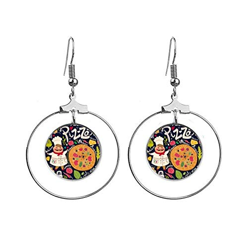 Cook Pizza Italy Tomato Foods Earrings Dangle Hoop Jewelry Drop Circle
