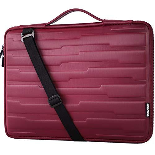 DOMISO 15.6 Inch Laptop Sleeve Shouder Bag Shock Resistant Protective Case Handbag for 15.6' Lenovo IdeaPad 520 / Dell Inspiron 15 3000 3573 / HP/Samsung/Acer Computer,Fuchsia
