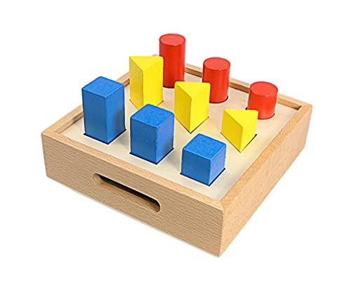 Yx-outdoor Modelo geométrico sólido, para el Centro de Aprendizaje Temprano, Aprendizaje Temprano Familiar Caja de inserción de Forma geométrica de Madera Juguete para niños pequeños (17 * 17 * 5 cm)