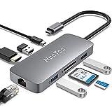 HooToo HUB USB C (8 en 1) Adaptador USB C 3.1 Carga 100W, Ethernet Rj45, HDMI, 3 Puertos USB, Lector SD/TF, Concentrador Compatible con MacBook/Pro/Google ChromeBook Pixel/Huawei/Samsung