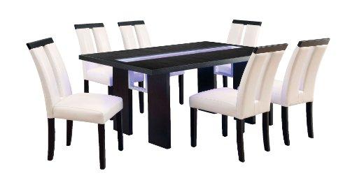 Furniture of America Brighton 7-Piece Dining Set with LED Light, Black, Ivory