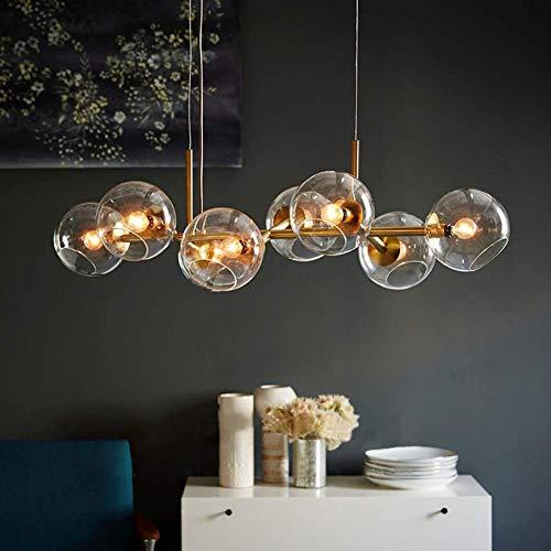 ZMH LED luce del pendente tavolo da pranzo con 8-bruciatore di vetro palla luce lampada a sospensione lampada da pranzo soggiorno camera da letto lampada luce interna, grigio fumo
