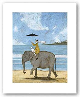 On the Edge of the Sand by Sam Toft, Elephant Beach Art Print Poster, Overall Size: 15.75x19.75, Image Size: 11.75x15.25
