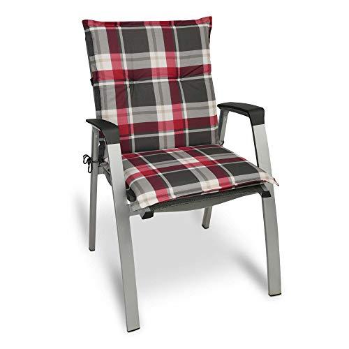 Beautissu Cojín para sillas de Exterior y jardín con Respaldo bajo Sunny RK Burdeos 100x50x6 cm tumbonas, mecedoras, Asientos cómodo Acolchado gomaespuma Resistente a Rayos UV