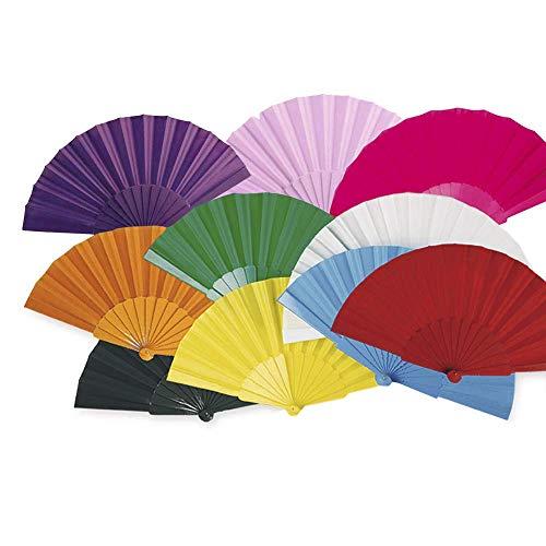 Lote 24 Abanicos de plástico con tela colores surtidos.