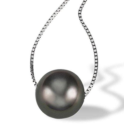 Goldmaid Damen-Halskette 375 Weißgold 1 Tahiti Perle Kettenanhänger schwarze Perlenkette