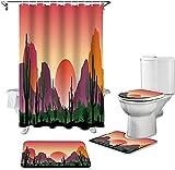 Badmat Set 4 Stuk, 4 Stks / Set Cactus Mountain Sunset Print Douchegordijn Waterdicht Badkamer Gordijn WC Cover Mat Antislip Tapijt Set Bad Decor