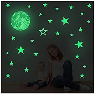 Creative Moon with Stars Halloween Decorations Wall Decals Glow in the Dark I Luminous Light Stickers for Halloween Party ...