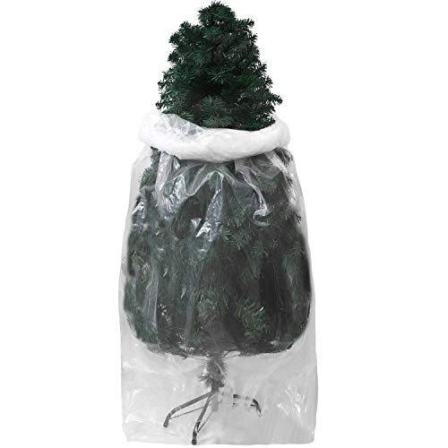 Aneco Christmas Tree Storage Bag Christmas Poly Large Storage Bag Clear Christmas Tree Disposal Bag Christmas Tree Removal Bag 9 x 4 Feet